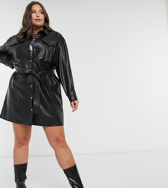 ASOS DESIGN Curve leather look button through mini shirt dress with belt in black