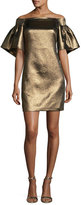 Halston Off-the-Shoulder Metallic Full-Sleeve Cocktail Dress