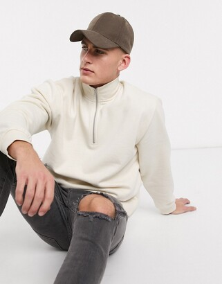 Topman quarter zip sweat in white