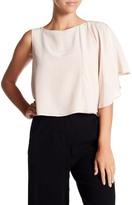 Nicole Miller Solid Beaded Shoulder Drape Silk Blouse