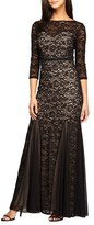 Alex Evenings Women's Embellished Chiffon Inset Lace Mermaid Gown