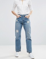 Asos True Boyfriend Jeans With Cinch Back In Mid Stone Wash