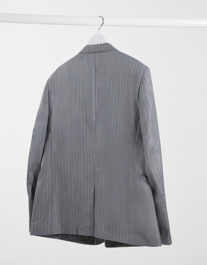 Thumbnail for your product : Burton Menswear Big & Tall skinny suit jacket in grey & pink stripe