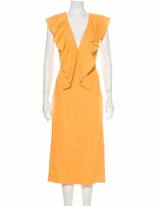 Cushnie Plunge Neckline Midi Length Dress Orange