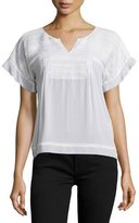 Burberry Short-Sleeve Black-Stitched Tucked Top
