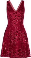 Badgley Mischka June sequin-embellished embroidered tulle mini dress