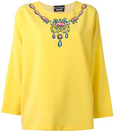 Moschino necklace print blouse - women - Cotton/Elastodiene/Polyester - 38