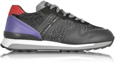 Hogan Running R261 Black and Purple Leather, High-tech Fabric and Lurex Women's Sneakers