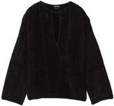 Tom Ford Oversized leather-paneled angora-blend top