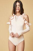 Oh My Love Cold Shoulder Frill Trim Bodysuit