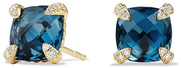 David Yurman Ch'telaine Earrings with Hampton Blue Topaz and Diamonds in 18K Gold