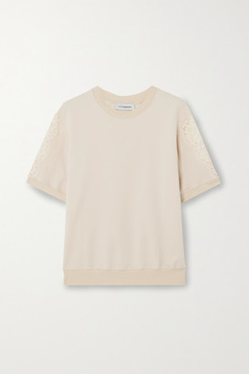 I.D. Sarrieri Lace-paneled Cotton-blend Jersey Top - Ecru