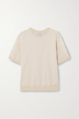 I.D. Sarrieri Lace-paneled Cotton-blend Jersey Top - Ecru