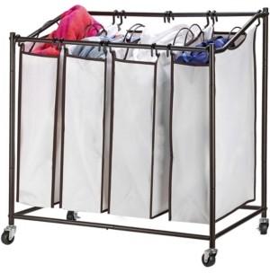 Home-it HomeIT 4 Bag Heavy Duty Laundry Hamper Sorter Cart with Wheels