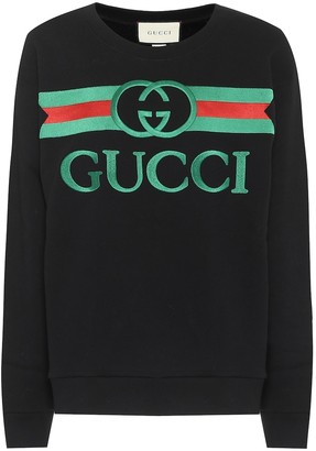 Gucci Embroidered logo cotton sweatshirt