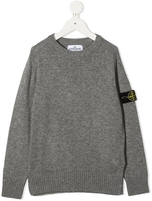 Stone Island Junior Logo Patch Crew Neck Jumper