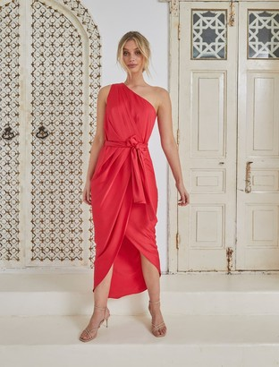 Forever New Chloe One-Shoulder Midi Dress - Red - 10