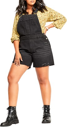 City Chic Distressed Short Overalls