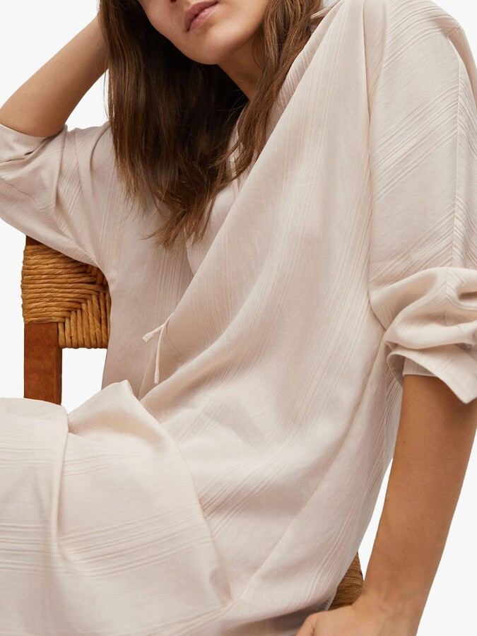 Thumbnail for your product : MANGO Textured Flowy Midi Dress, White