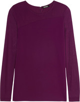 DKNY Paneled stretch-jersey top