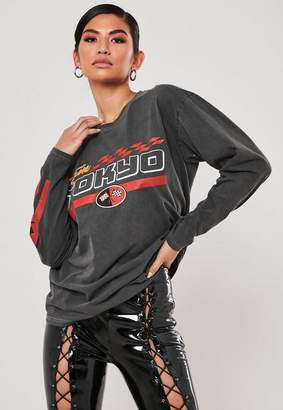 Missguided Gray Team Tokyo Racer Graphic Long Sleeve T Shirt