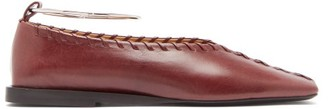 Jil Sander Whipstitched Square-toe Leather Ballet Flats - Womens - Burgundy