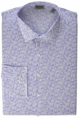 Kenneth Cole Reaction mens Slim Fit All-day Flex Technicole Stretch Print Dress Shirt
