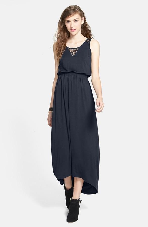 Lush Lace Yoke Maxi Dress (Juniors)