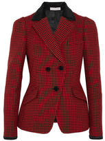 Altuzarra Paladini Velvet And Satin-trimmed Houndstooth Wool Jacket - Crimson