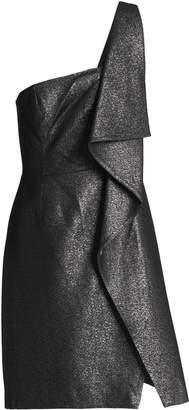Halston One-shoulder Metallic Ruffled Woven Mini Dress