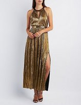 Charlotte Russe Metallic Ribbed Maxi Dress