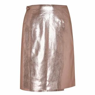 Manley Parker Metallic Leather Skirt Pink Tinsel