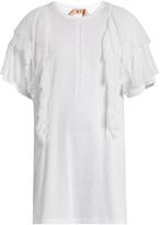 No.21 NO. 21 Ruffled-chiffon appliqué cotton T-shirt