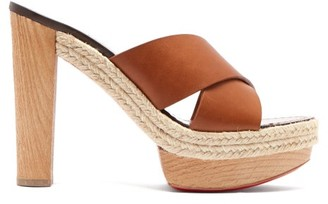 Christian Louboutin Lagoana 130 Leather Platform Mules - Tan
