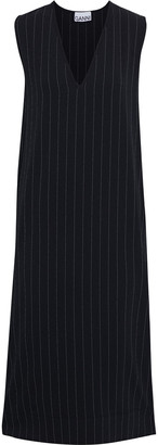Ganni Pinstriped Crepe Midi Dress