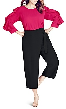 City Chic Plus City Chic Cropped Faux Wrap Pants
