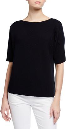 Lafayette 148 New York Cotton/Silk Tape Diagonal Stitch Dolman Sweater