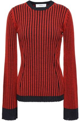 Pringle Striped Ribbed Merino Wool And Silk-blend Sweater