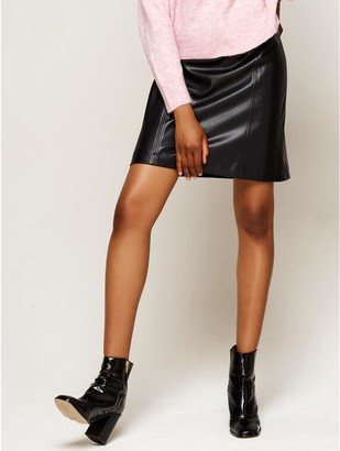 M&Co Faux leather A-line skirt