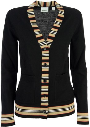 Burberry Cauca - Icon Stripe Detail Merino Wool Cardigan