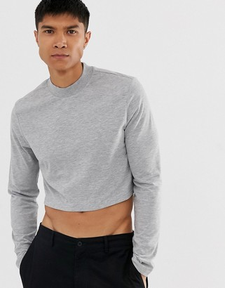 Asos Design DESIGN muscle fit long sleeve boxy fit turtle neck in grey marl