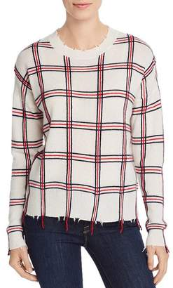 Aqua Distressed Plaid Cashmere Sweater - 100% Exclusive
