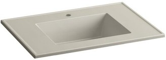 "Kohler Ceramic Impressions Impressions 31"" Single Faucet Hole Single Bathroom Vanity Top Top Finish: Sandbar Impressions"