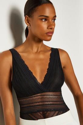 Karen Millen Sleeveless Lace V-Front And Back Body