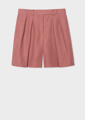 Paul Smith Women's Brick Red Linen Tailored Shorts