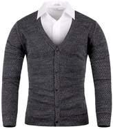 Mmoriah Men's Mosaic Basic Knit Cardigan Sweater Jumper Top