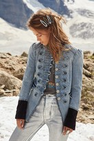 Free People Denim Seamed And Structured Jacket by Free People, Atlantic Blue, XS
