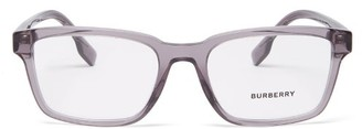Burberry Logo-print Rectangle-acetate Glasses - Grey