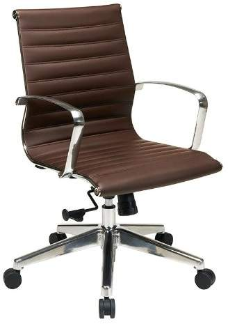 Office Star Osp Furniture Hospitality 74618Lt Mid Back Chocolate Eco Leather Chair