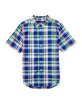Ralph Lauren Short-Sleeve Madras Plaid Shirt, Blue/Green, Size 5-7